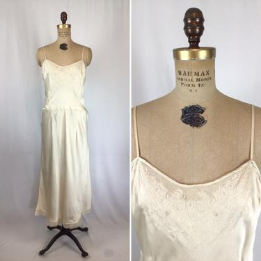 Vintage 30s nightgown | Vintage cream silk nightdress | 1930s ivory embroidered backless slip by BeeandMason