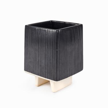 Japanese Ceramic Ikebana Vase Black by VintageInquisitor