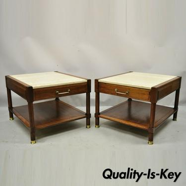 Mid Century Modern Travertine Top Walnut 2 Tier Lamp Side End Tables - a Pair