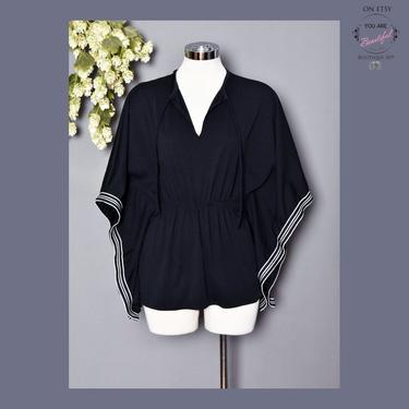 vtg 70's Black Kaftan Tunic Blouse, Batwing Top Hippie Boho 1970's Disco Shirt, Mini Dress, Polyester Angel Wing Sleeves, Vintage caftan by Boutique369