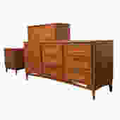 Set of 3 Mid Century Modern Walnut Bedroom Suite