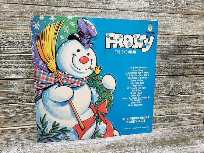 Vintage Frosty the Snowman Record 33 1/3, Peter Pan Records LP Album, The Peppermint Kandy Kids, Vintage Christmas Music, Vintage Vinyl by AGoGoVintage
