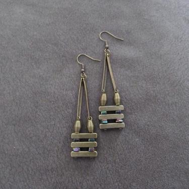 Minimalist earrings, brutalist earrings, mid century modern earrings, bold statement earrings, rainbow hematite, unique chic brass earrings, by Afrocasian