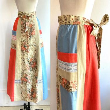 Vintage 70's CALICO + LACE Maxi Peasant Skirt / Baby Blue + Peach / POCKETS + Tie by CharmVintageBoutique
