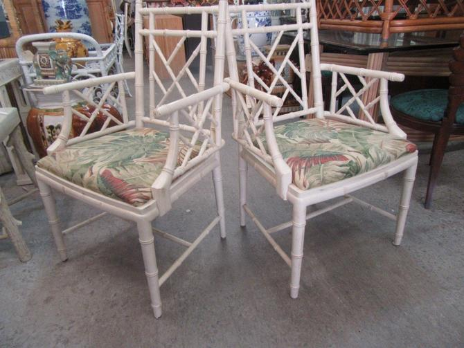 Chippendale Faux Bamboo Arm Chairs