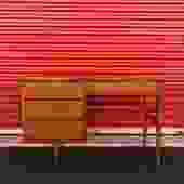 Mid Century 4 Drawer Writing Desk in Walnut
