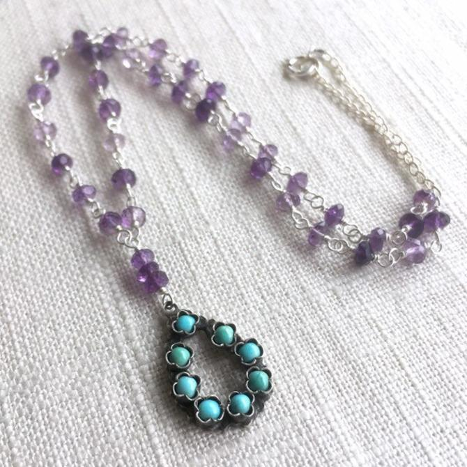 Sleeping Beauty Dreams Of Home [assemblage necklace: vintage turquoise & sterling pendant, amethyst, sterling chain] by nonasuch