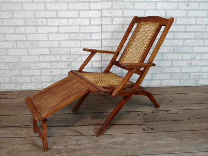 Children's Wood Folding Steamer Ship Deck Chair Lounge Chair with Caned Seat by RedsRustyRelics