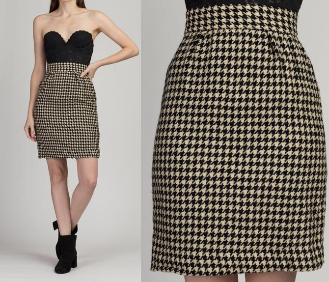 """Vintage Houndstooth Wool Mini Skirt - Extra Small, 24"""" 