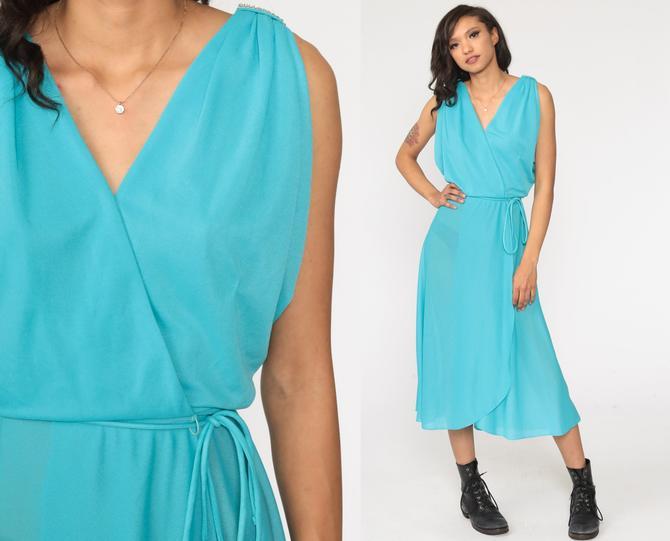 Blue Wrap Dress RHINESTONE Disco Dress Grecian 70s Boho Party Midi Deep V Neck High Waist Vintage Sleeveless Bohemian Small by ShopExile