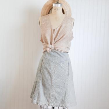 00s marc jacobs high waist denim striped skirt | size 10 12 | 32 waist by foganddriftwood