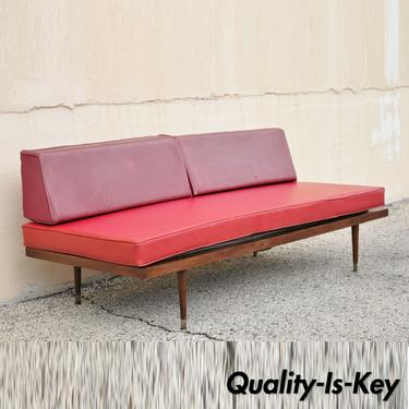 Vintage Mid Century Modern Danish Style Walnut Sofa Daybed with Red Cushions