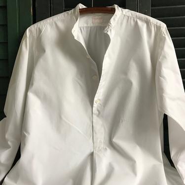 1920s French Chemise, Mens Dress Shirt, Fine Quality White Cotton, Original Paris Label, Embroidered Monogram by JansVintageStuff