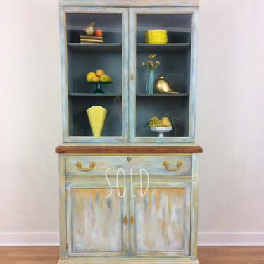 This piece is SOLD    Lovely vintage  bohemian cabinet hand painted in teals, blue, golds by DeliaDesignsStudio