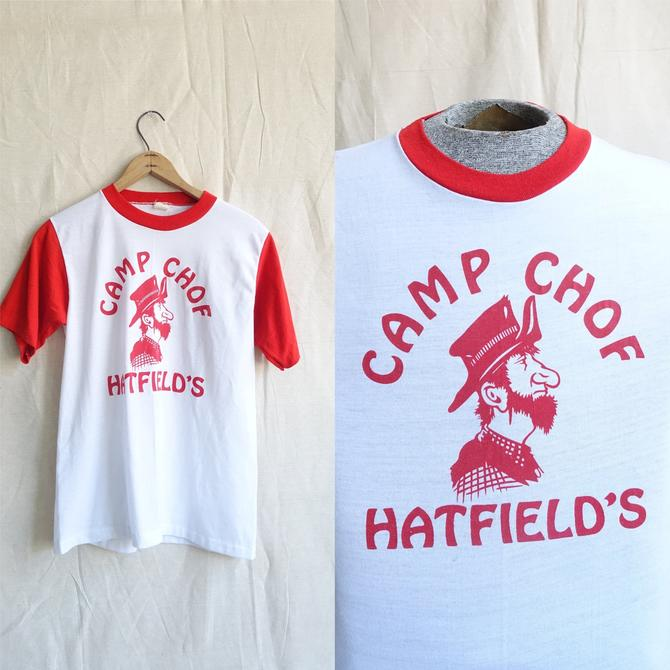 Vintage 70s Camp Chof Two Tone T Shirt/ 1970s Christian Church Camp Red White Graphic T/ 50/50 single stitch/ Size Medium by bottleofbread