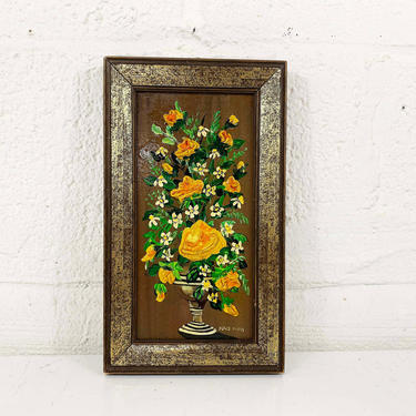 True Vintage Framed Floral Original Painting Art Yellow Roses Flowers Rose Gold Wood Frame Painted 3D Amateur Painter Hobbyist Hobby by CheckEngineVintage