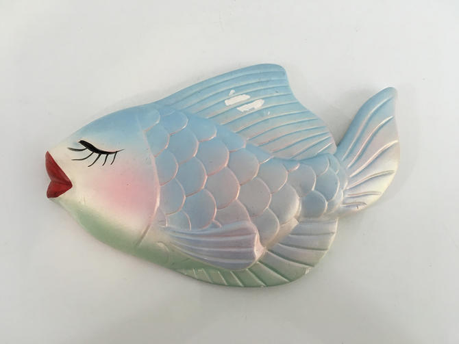 Vintage Chalkware Fish Wall Hanging Rainbow Trout Miller Studios 1960s Chalk Plaster Plaques Blue Pink Red Bathroom Kid S Room Nursery Decor By