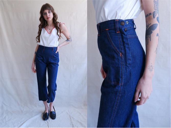 Vintage 50s Side Zip Denim/ 1950s High Waisted Flat Front Cropped Jeans with Contrast Stitching/ Blue Gem Cone Denim/ Size 25 26 by bottleofbread