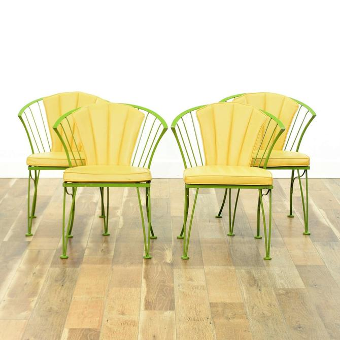 Set Of 4 Vintage Lime Scalloped Fan Back Patio Chairs