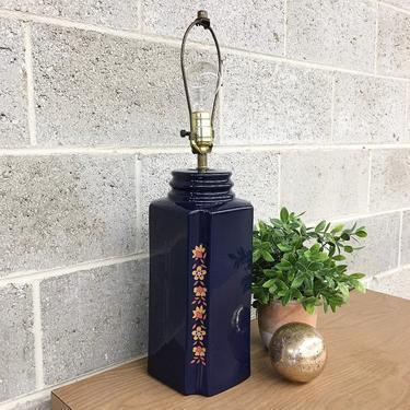 Vintage Table Lamp Retro 1990s Bohemian + Folk Style + Ceramic + Dark Blue + Floral Print + Mood Lighting + Boho + Home and Table Decor by RetrospectVintage215