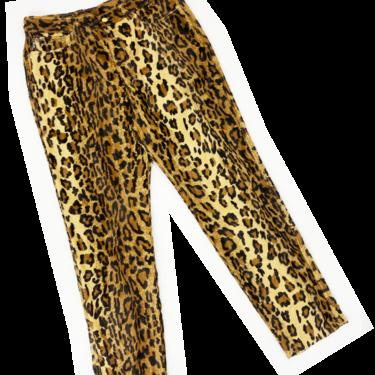 Moschino 1996 faux fur leopard print pants