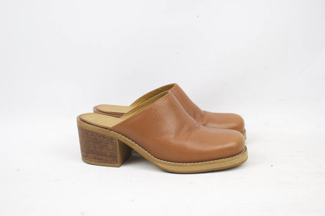 4191f0d15d353 Vintage 90's Brown Leather Chunky Heel Mules / 1990's Slip ...
