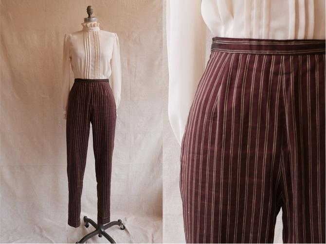 Vintage 90s Pinstripe Cigarette Trousers/ 1990s High Waisted Maroon Gold Peg Leg Pants/ Size 26 small by bottleofbread