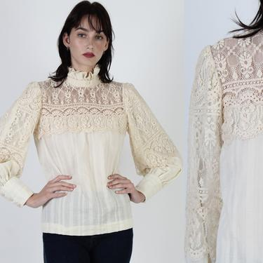 Ivory Floral Lace Victorian Blouse / Vintage 70s Sheer Puff Sleeve Top / Embroidered Crochet Peasant Blouse by americanarchive
