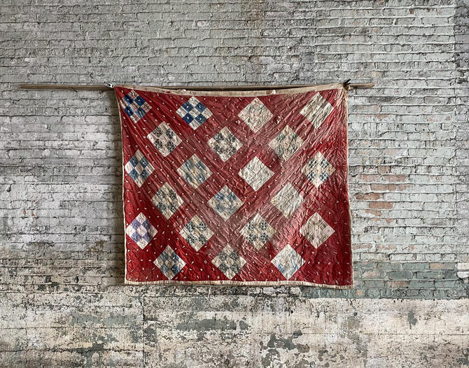 Vintage Block Quilt Calico Scraps Midwestern Quilt 74x64 by NorthGroveAntiques