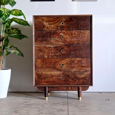 Mid Century Modern Dresser / Handmade Walnut Dresser / Scandinavia solid Wood Dresser / 5 Drawer Dresser by BeautyBreadWoodshop
