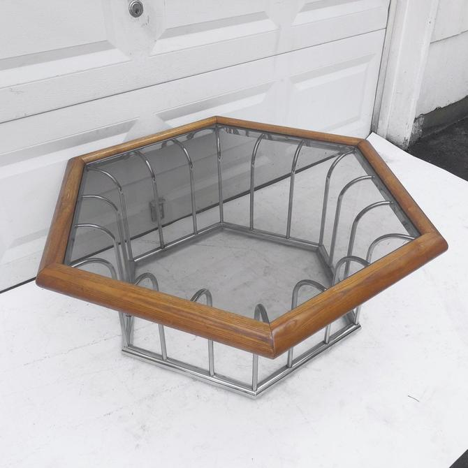 Mid-Century Modern Coffee Table in Chrome and Oak by secondhandstory
