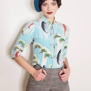 Vintage Silkprint Blouse Turquoise Blue Koi Japanese Art Print / Fitted Button Down Shirt Asian Mandarin Collar / M by RareJuleVintage
