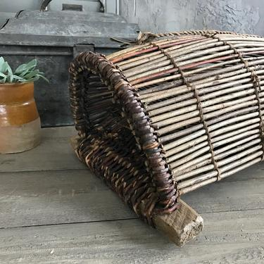 Antique Fishing Trap, Wicker Basket, Minnow, Crawfish, Nautical, Cottage Cabin Wall Decor by JansVintageStuff