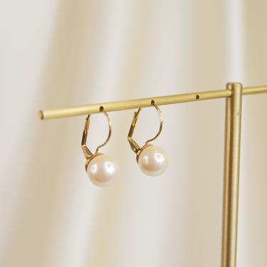 large pearl gold dangle earring, gold pearl vintage dangle earring, drop pearl earring, gold pearl vintage earring, pearl dangle earring by melangeblancdesigns
