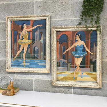 Vintage Paint By Number 1960s Retro Size 23x19 Mid Century Modern + Ballerinas + Set of 2 + Women Dancing + Ballet + MCM Wall Art and Decor by RetrospectVintage215