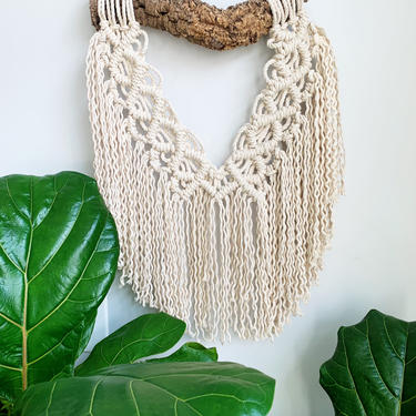 Natural Macrame Wall Hanging with natural wooden dowel by JungleandLoom