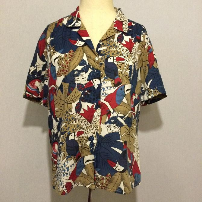Vintage Tropical Toucan Rain Forest Blouse by citybone
