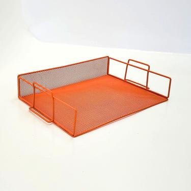 Mail Holder File Letter Sorter Orange Mesh Wire Metal Decor Music Record Album Man Cave Mid Century Office Desk Organizer by MakingMidCenturyMod
