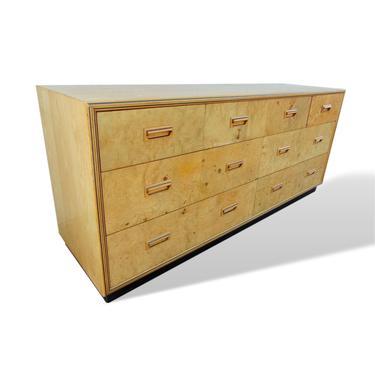 Milo Baughman Style Natural Burl Wood Dresser by Henredon by VeronaVintageHome