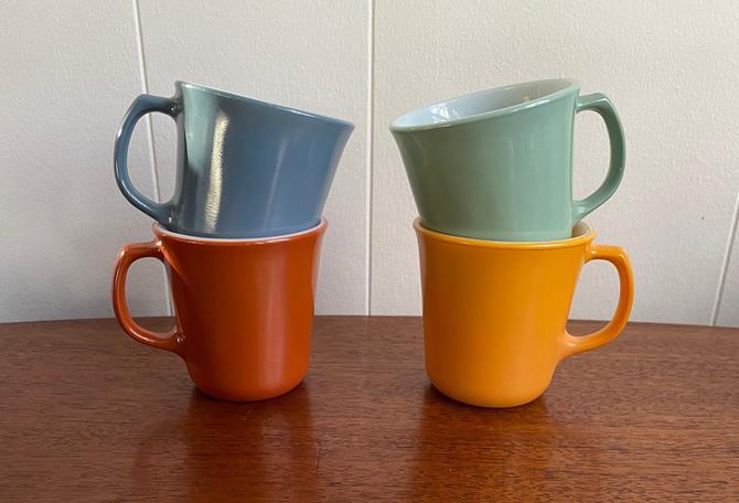 Vintage Corning Pyrex Solid Milk Glass Tea/ Coffee Mugs, MCM Retro Kitchen, Burnt Umber, Marigold, Steel Blue, Seafoam Green by BlackcurrantPreserve