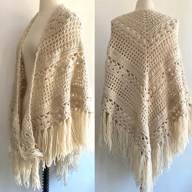 1970s Vintage IVORY BOHO SHAWL / Hand Knit Intricate Design + Long Fringe by CharmVintageBoutique