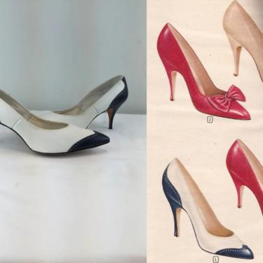 Sky High She Flew - Vintage 1950s 1960s Navy Blue & White Leather Spectator Pumps Shoes Heels - 7AA by RoadsLessTravelled2