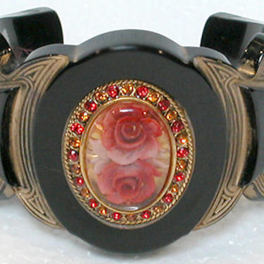 """French Bracelet Lucite Cuff """"Belle Epoque Style"""" Solid Black with Red Rose Center by CafeSocietyStore"""