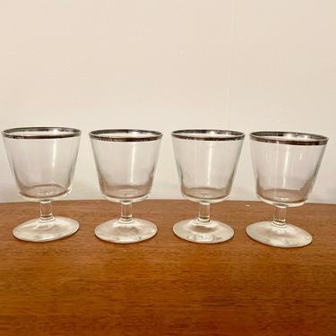 Set of 4- Vintage Wine Cocktail Coupe Glasses; Silver Rim Faceted Pattern, MCM Barware by BlackcurrantPreserve