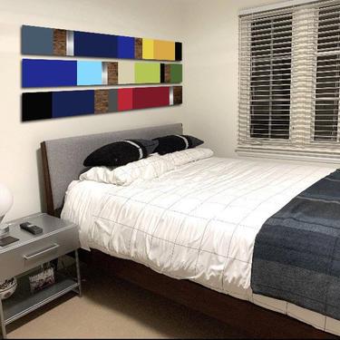"CUSTOM ORDER - Liz - Mod Colorblock 55x30"" by LauraAshleyWoodArt"