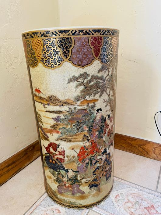 """Vintage Large Authentic Japanese Satsuma Vase, Umbrella Stand Hand painted, Embossed Moriage - excellent Condition  18.5"""" X 9.5"""" by JoAnntiques"""