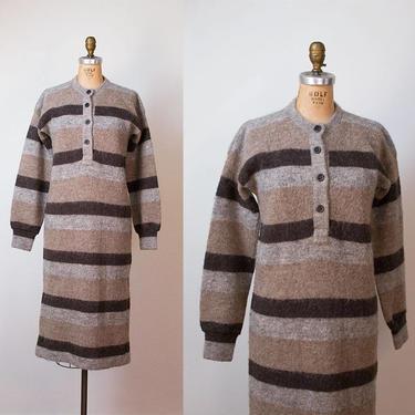 1970s Icelandic Wool Sweater Dress / 70s Striped Dress by FemaleHysteria