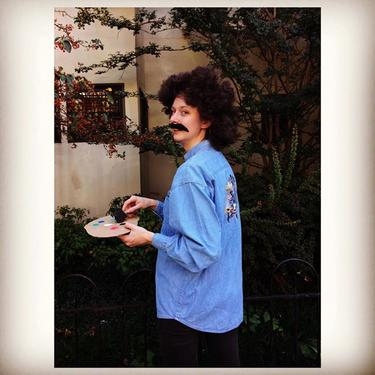 Betsy feelin a little Bob Ross-yin 1980s chambray embroidered museum shirt, wig, moustache See you at our Halloween party tonite from 6-9pm ! #meepsdc #vintagecostume #cosplay #bobross #thejoyofpainting #artinstructor #betsy