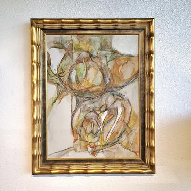 ABSTRACT OIL ON CANVAS IN GOLDEN FRAME - UNSIGNED