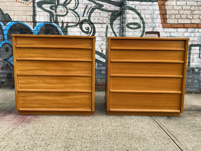 Pair of mid century modern 5 drawer maple blonde dressers very clean by symmetrymodern